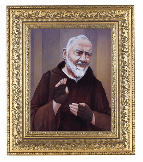 Hirten St Pio of Pietrelcina Detailed Ornate Gold Leaf Antique Framed Picture