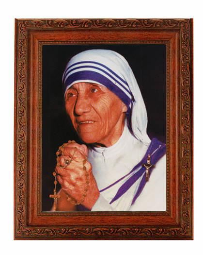 Hirten St Teresa of Calcutta Detailed Ornate Antique Mahogany Finished Framed Picture