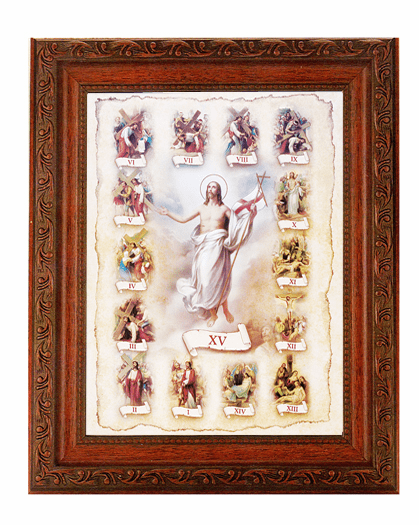 Hirten Stations of the Cross Detailed Ornate Antique Mahogany Finished Framed Picture