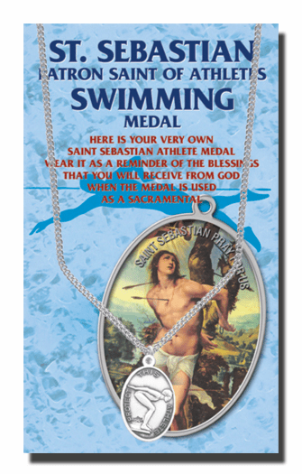 Hirten Swimming Female St Sebastian Athlete Sports Necklace with Prayer Card