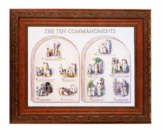 Hirten Ten Commandments Detailed Ornate Antique Mahogany Finished Framed Picture