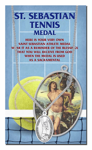 Hirten Tennis Female St Sebastian Athlete Sports Necklace with Prayer Card