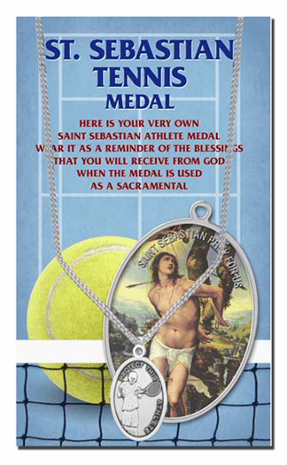 Hirten Tennis Male St Sebastian Athlete Sports Necklace with Prayer Card