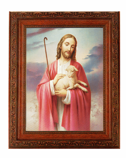 Hirten The Good Shepherd Detailed Ornate Antique Mahogany Finished Framed Picture