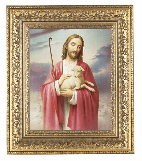 Hirten The Good Shepherd Detailed Ornate Gold Leaf Antique Framed Picture