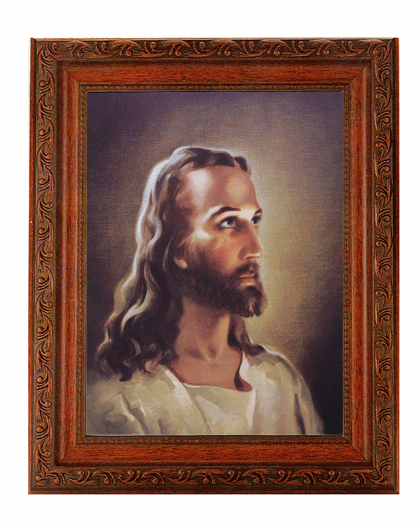 Hirten the Head of Jesus Christ Detailed Ornate Antique Mahogany Finished Framed Picture