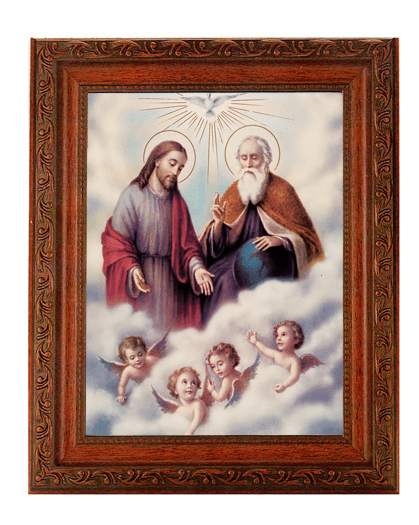 Hirten The Trinity with Angels Detailed Ornate Antique Mahogany Finished Framed Picture