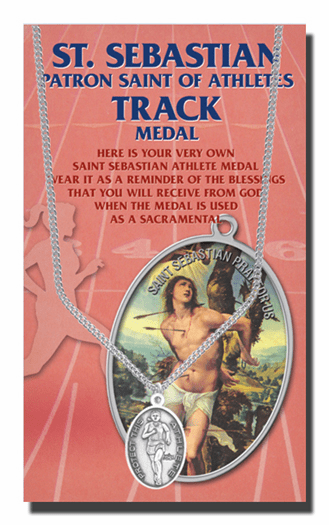 Hirten Track Female St Sebastian Athlete Sports Necklace with Prayer Card