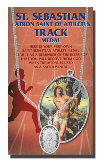 Hirten Track Male St Sebastian Athlete Sports Necklace with Prayer Card