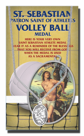 Hirten Volleyball Female St Sebastian Athlete Sports Necklace with Prayer Card