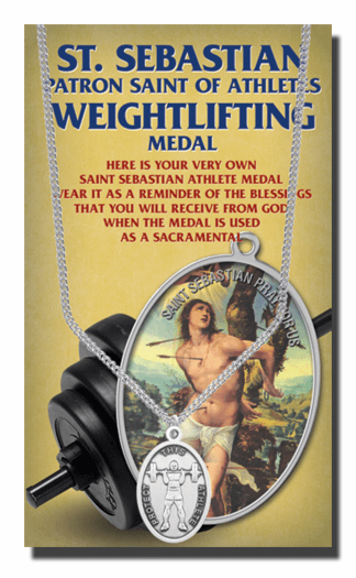 Hirten Weightlifting Male St Sebastian Athlete Sports Necklace with Prayer Card