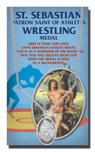 Hirten Wrestling Male St Sebastian Athlete Sports Necklace with Prayer Card