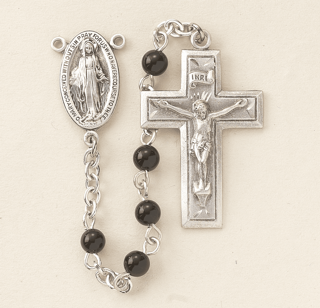 HMH Religious 4mm Black Onyx Sterling Silver Catholic Prayer Rosary