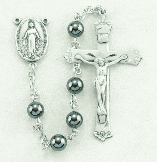 HMH Religious 6mm Round Hematite Sterling Silver Rosary with Flowered Crucifix