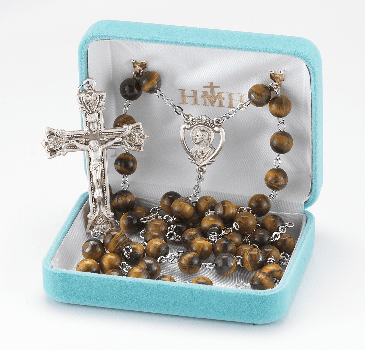 HMH Religious 8mm Tigereye Gemstone Sterling Catholic Rosary with Heart Crucifix