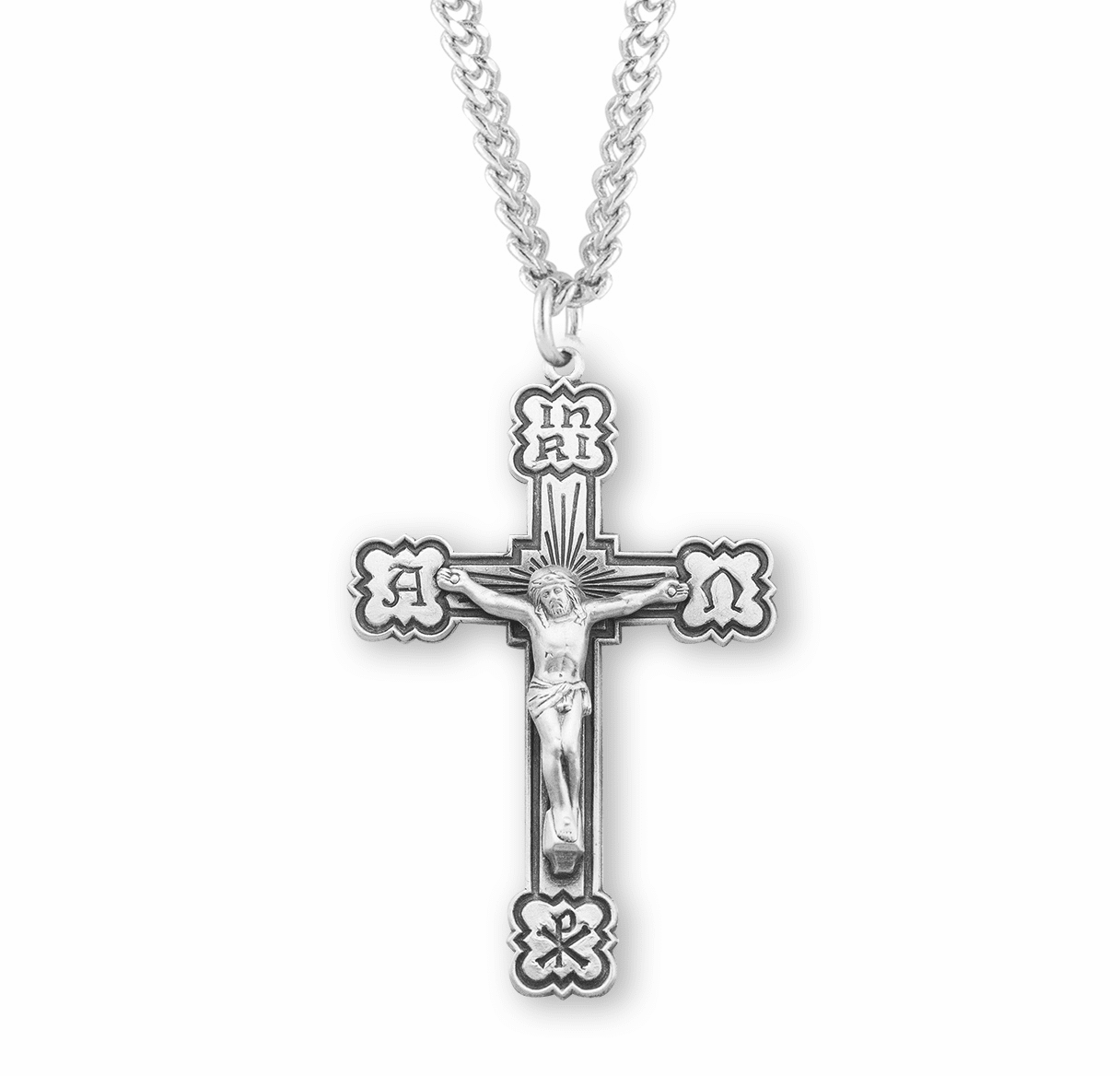 HMH Religious Alpha and Omega Sterling Silver Crucifix with Chain