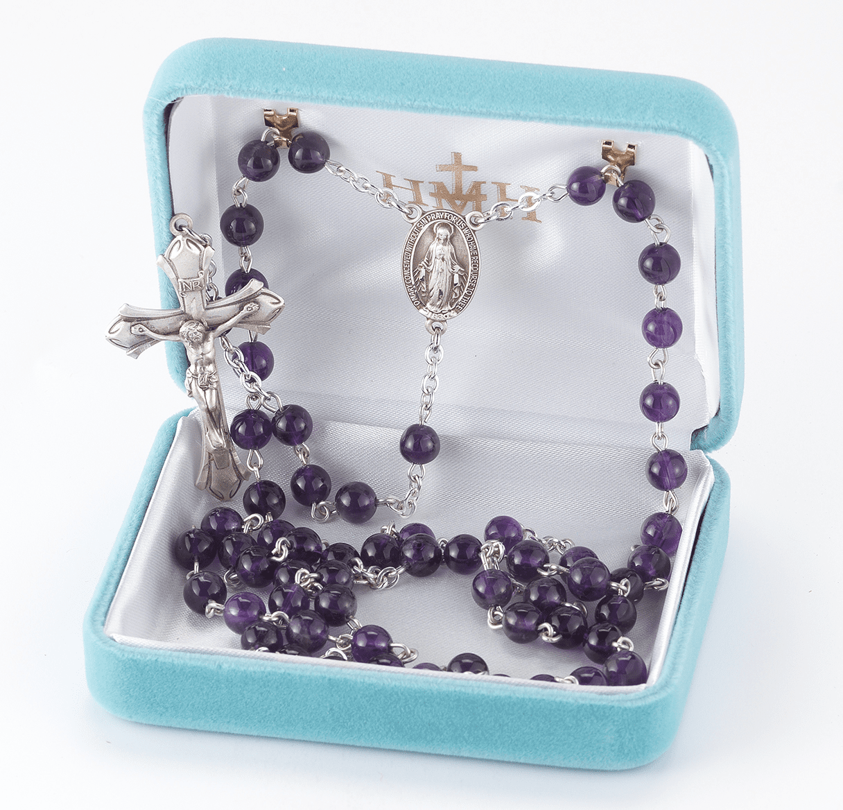 HMH Religious Amethyst Gemstone Sterling Silver Miraclous Rosary with Flared Crucifix