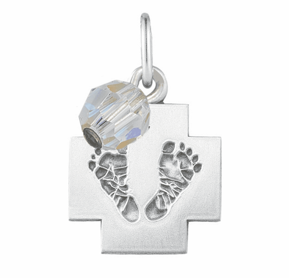 HMH Religious April Crystal Baby Foot Print Necklace