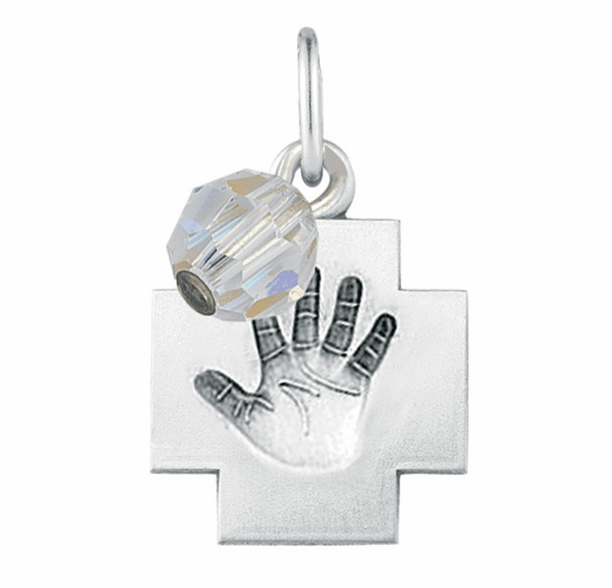 HMH Religious April Crystal Baby Hand Print Necklace