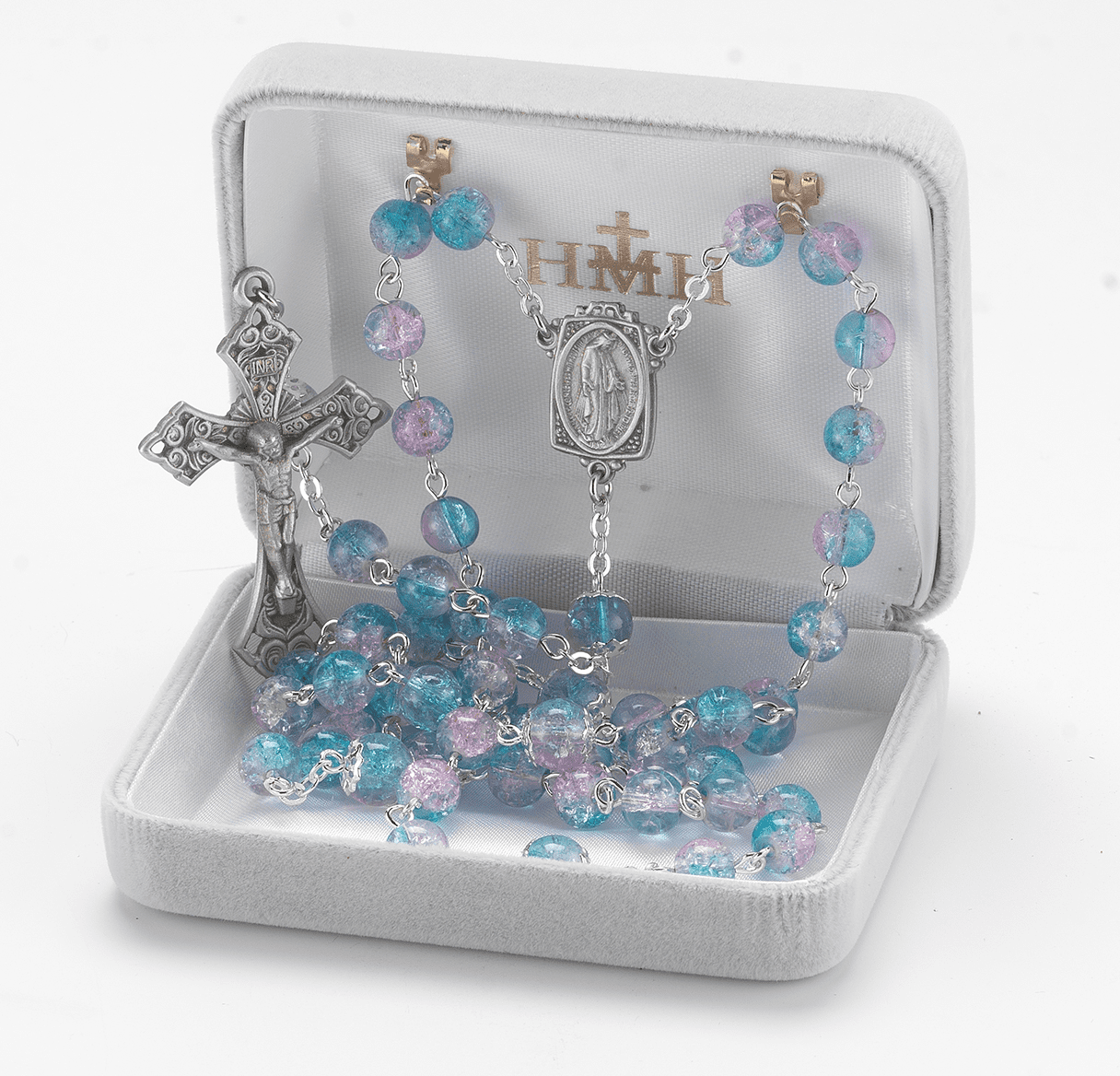HMH Religious Miraculous Aqua and Pink Crackle Glass Bead New England Pewter Rosary