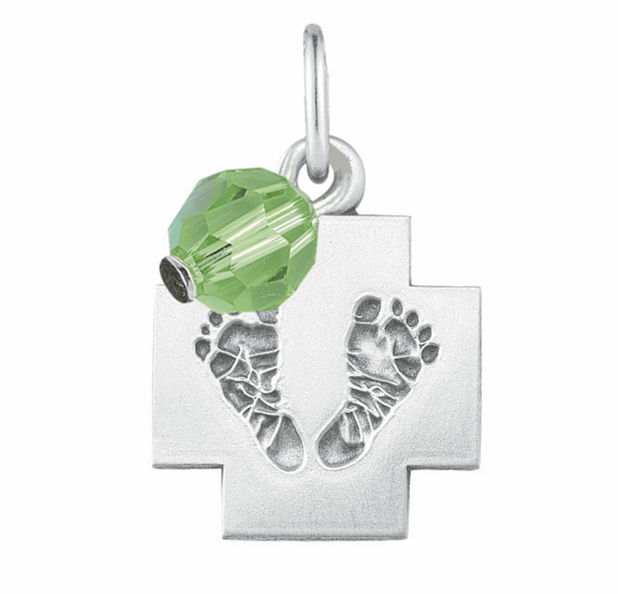 HMH Religious August Peridot Baby Foot Print Necklace