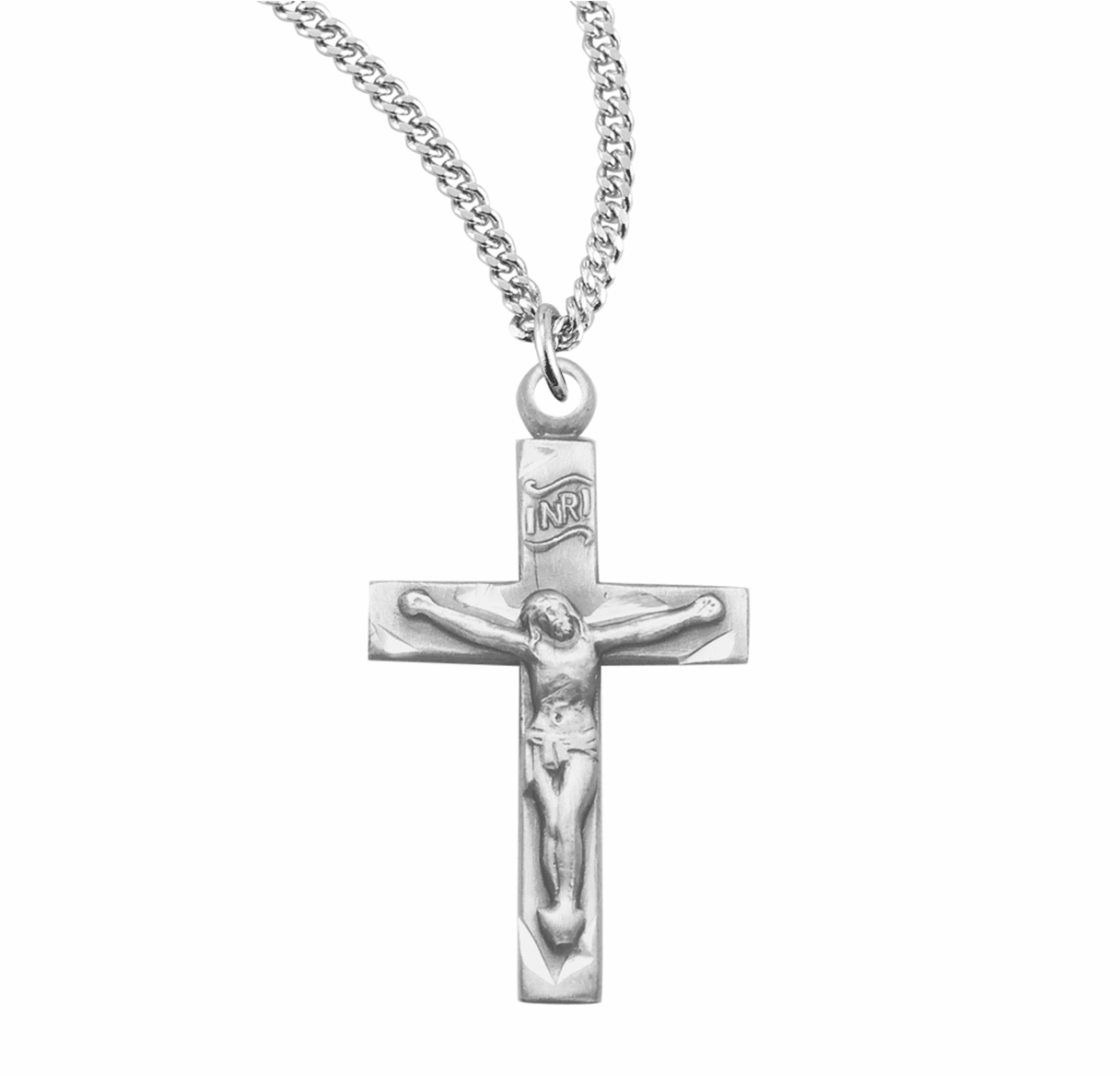 HMH Religious Basic Narrow Sterling Silver Crucifix Cross with Chain