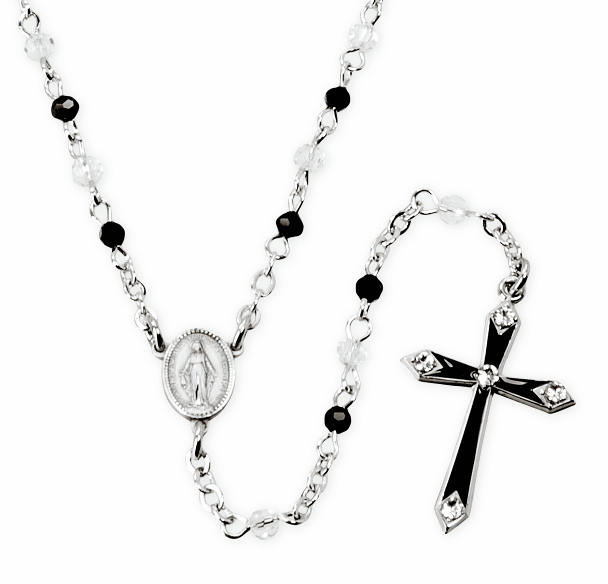 HMH Religious Black and Crystal Rosary Necklace w/Black Enameled Cross