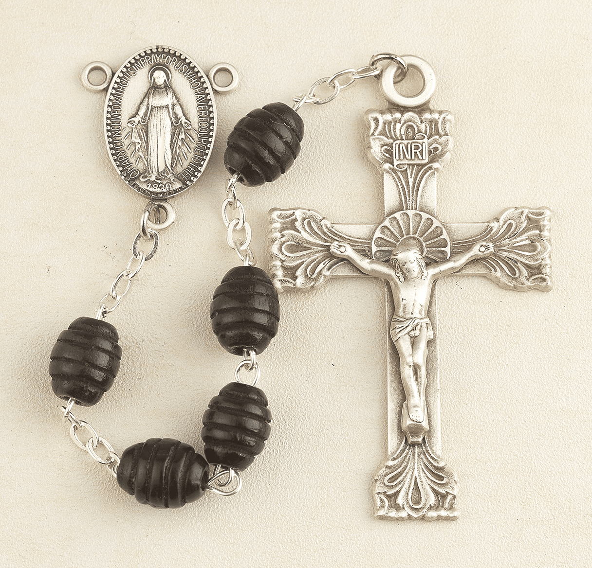 HMH Religious Black Beehive Carved Boxwood Miraculous Medal Catholic Rosary