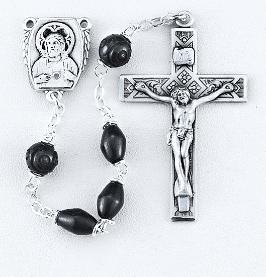 HMH Religious Black Coco Beads with Carved Our Father Beads Sterling Scapular Rosary