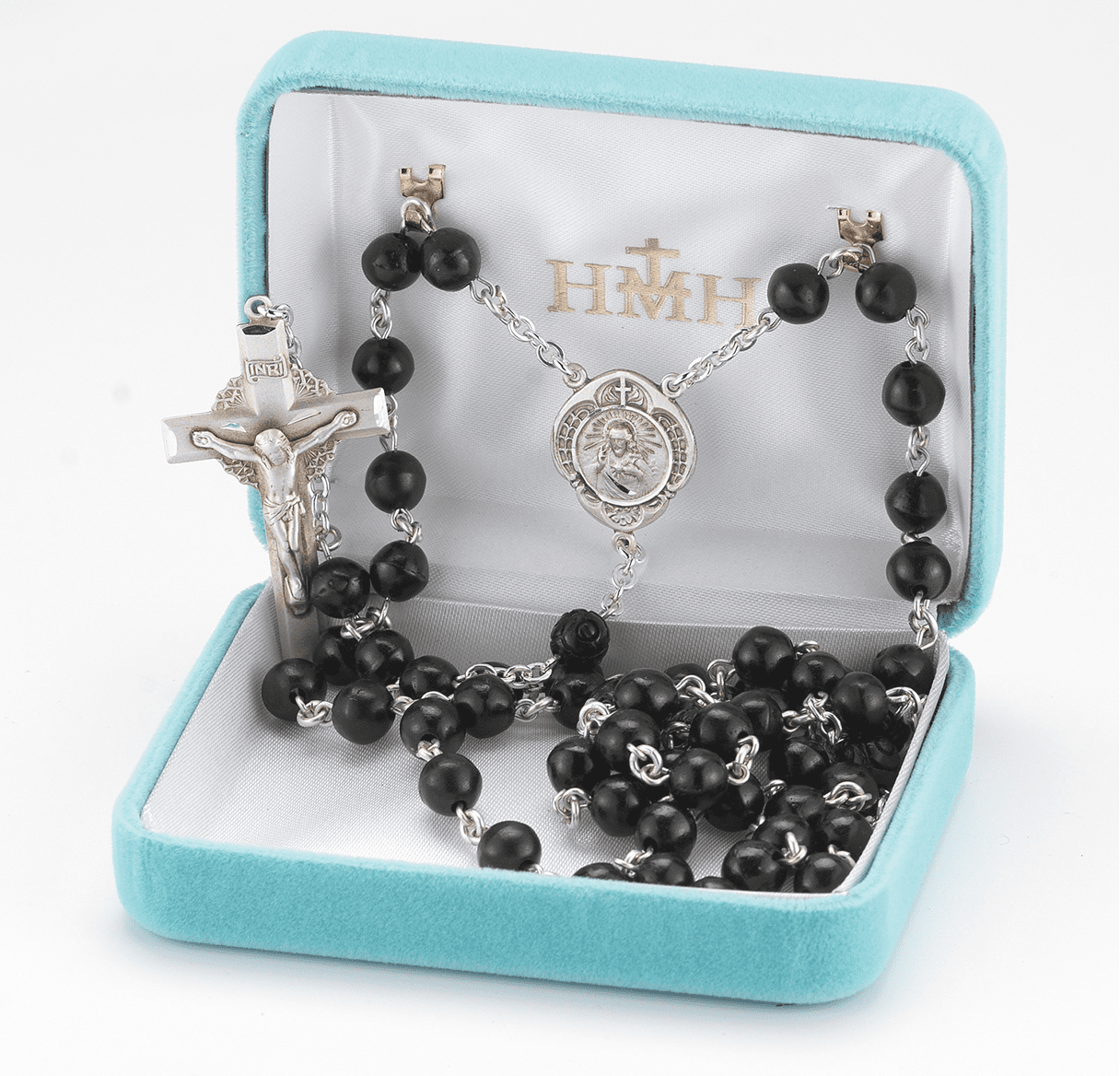 HMH Religious Black Coco Beads with Carved Our Father Sterling Scapular Rosary