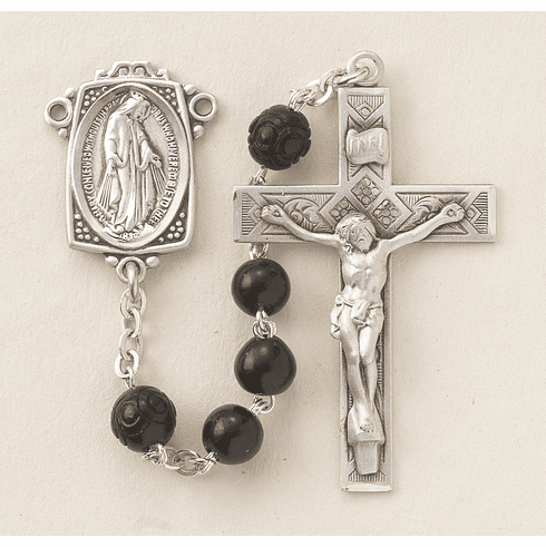 HMH Religious Black Coco with Carved Beads Sterling Scapular Rosary