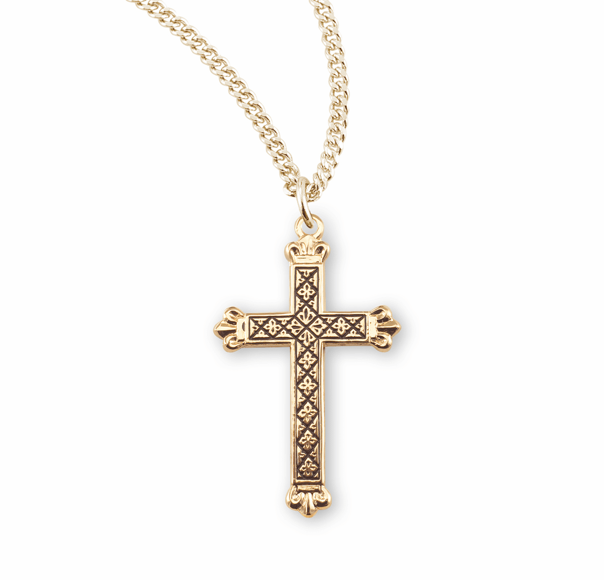 HMH Religious Black Enameled Crown Tipped Cross Necklace