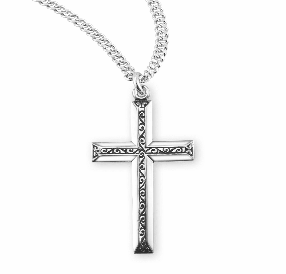 HMH Religious Black Enameled Raised Design Sterling Silver Cross Necklace