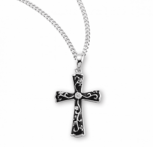 HMH Religious Black Enameled Sterling Silver Cross with Crystal Zircons Necklace