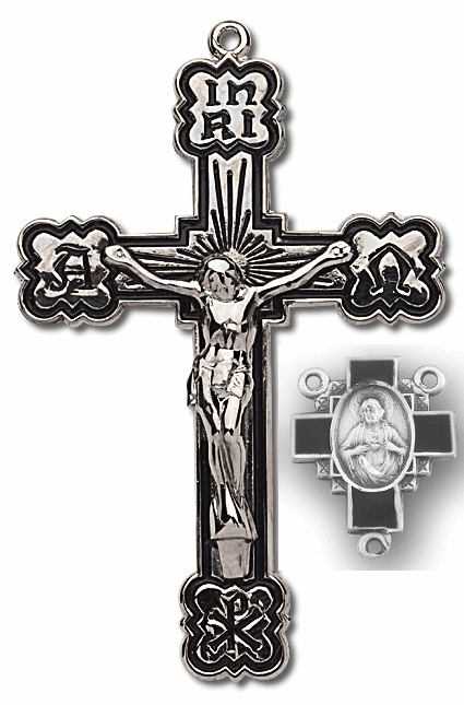 HMH Religious Black Etch Alpha and Omega Sterling Silver Crucifix and Centerpiece Set