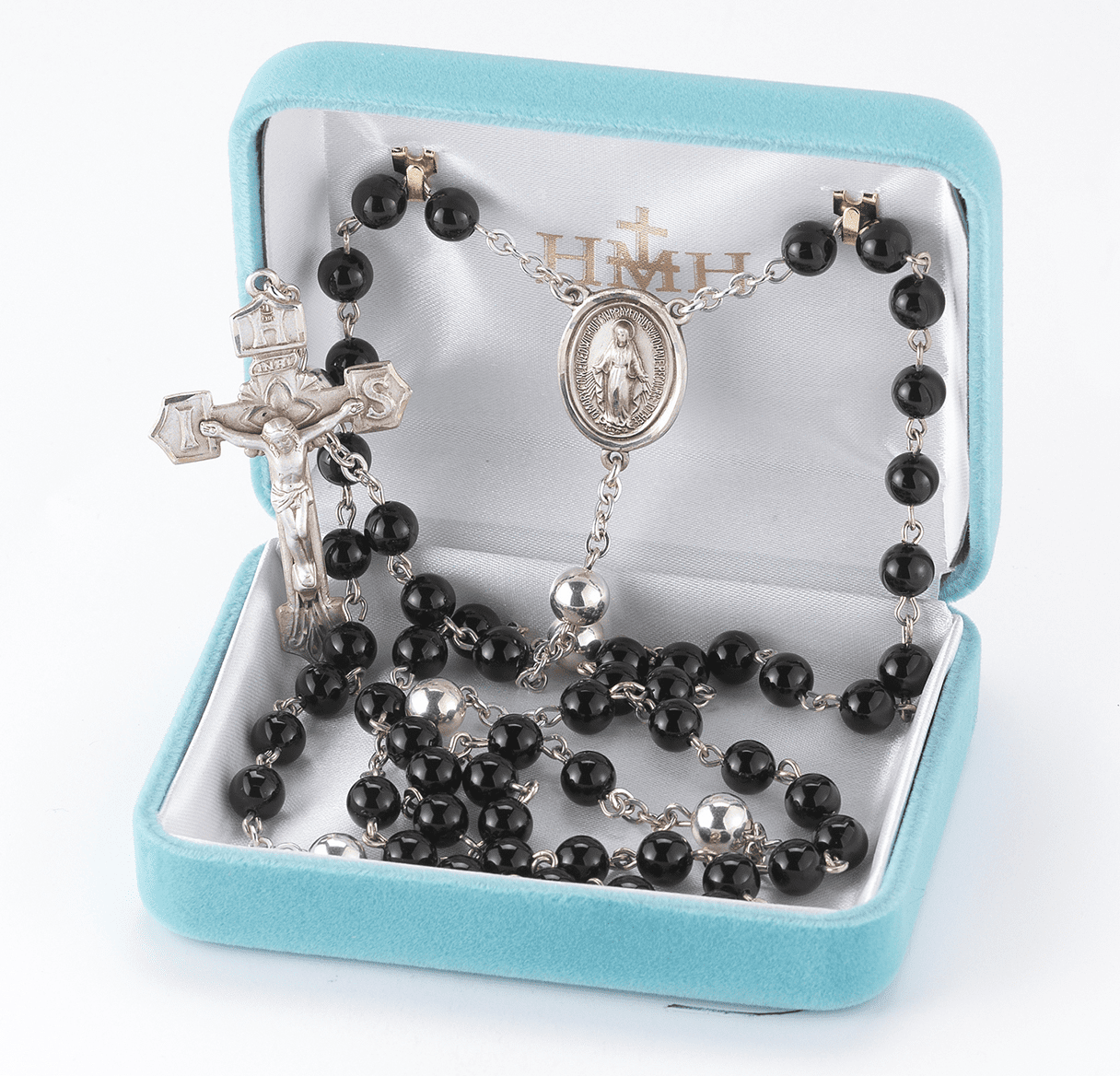 HMH Religious Black Onyx Sterling Silver Rosary with IHS Crucifix and Miraculous Center