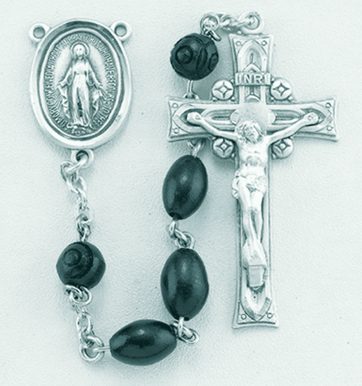 HMH Religious Black Oval Coco Beads w/Carved Our Father Beads Sterling Miraculous Rosary