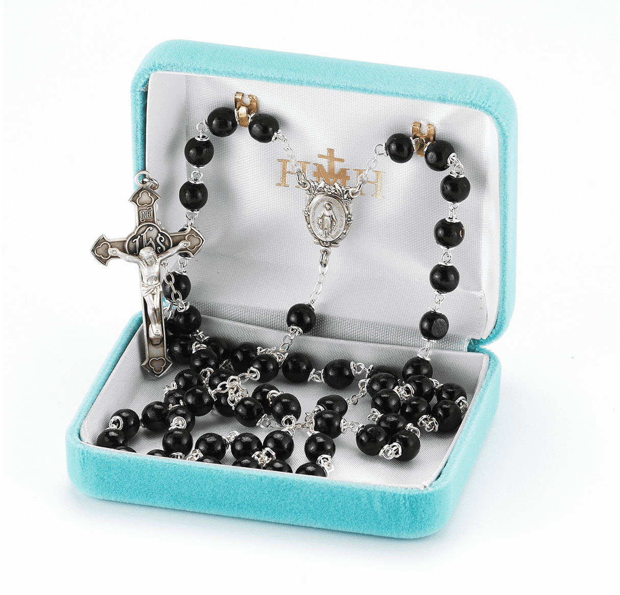 HMH Religious Black Round Polished Boxwood Beads Sterling Scapular Rosary