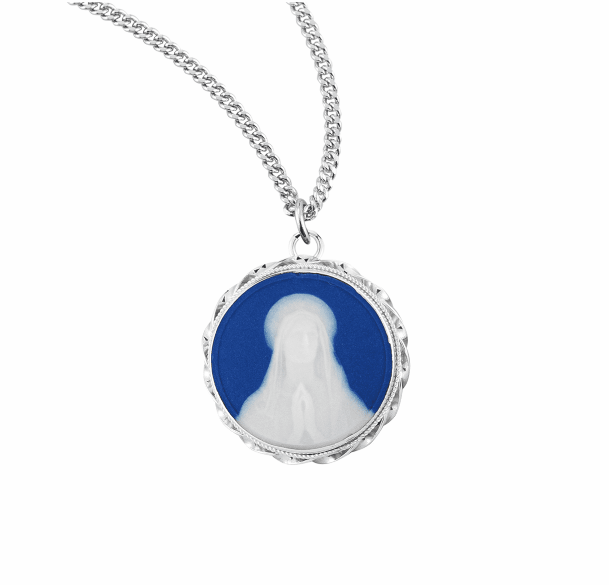 HMH Religious Blue Our Lady of Lourdes Cameo Sterling Silver Necklace