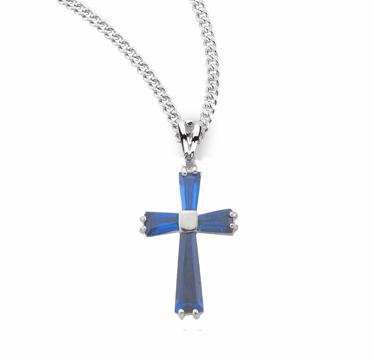 HMH Religious Blue Sapphire Zircon Sterling Silver Cross with Chain