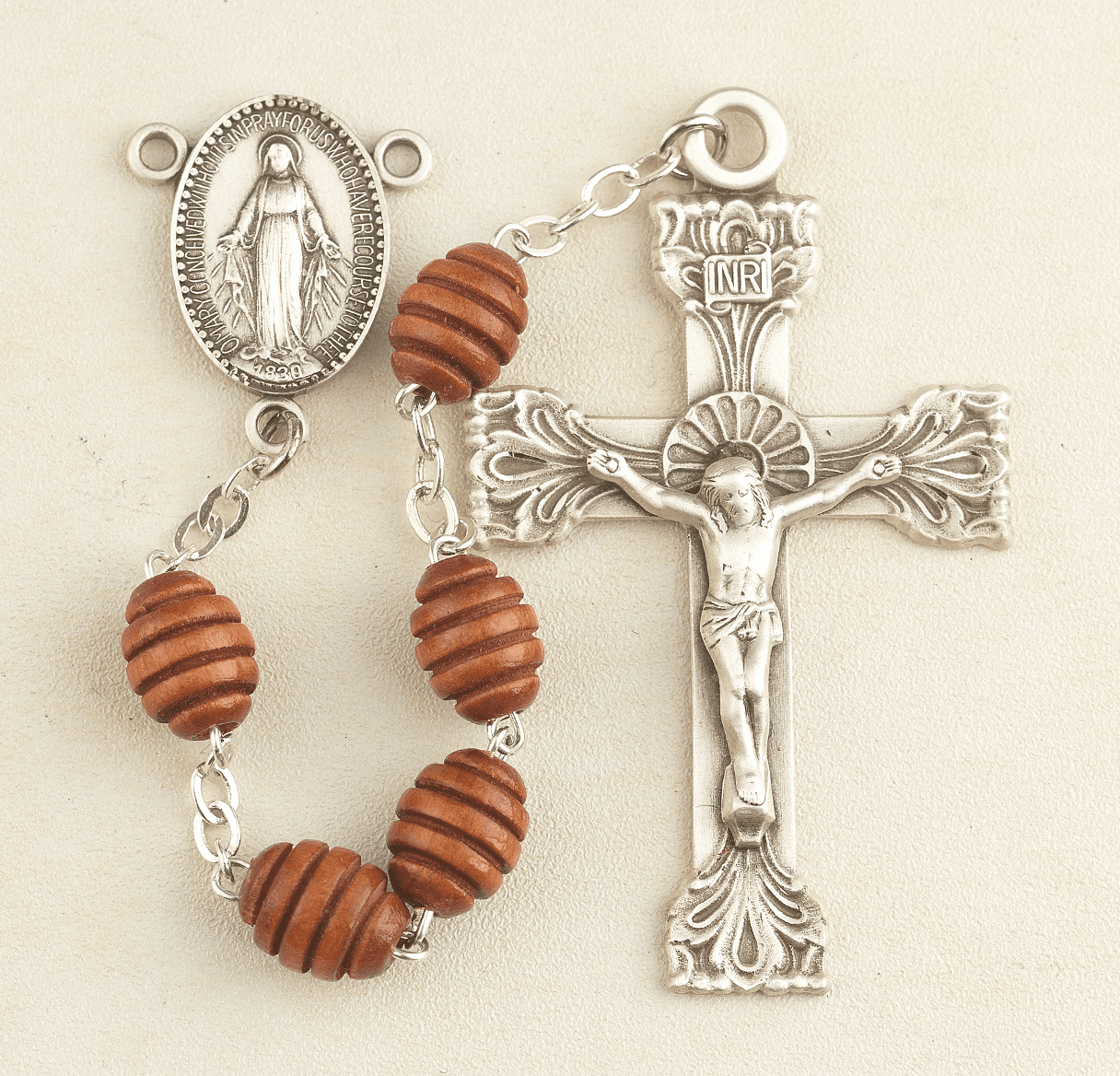 HMH Religious Brown Beehive Carved Boxwood Miraculous Medal Catholic Rosary