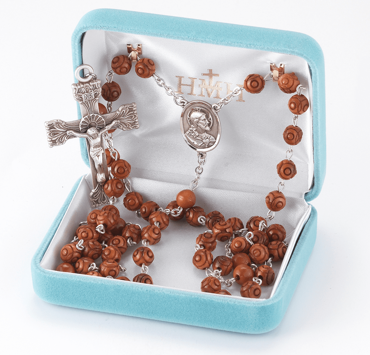 HMH Religious Brown Carved Genuine Coco Bead Scapular Catholic Prayer Rosary