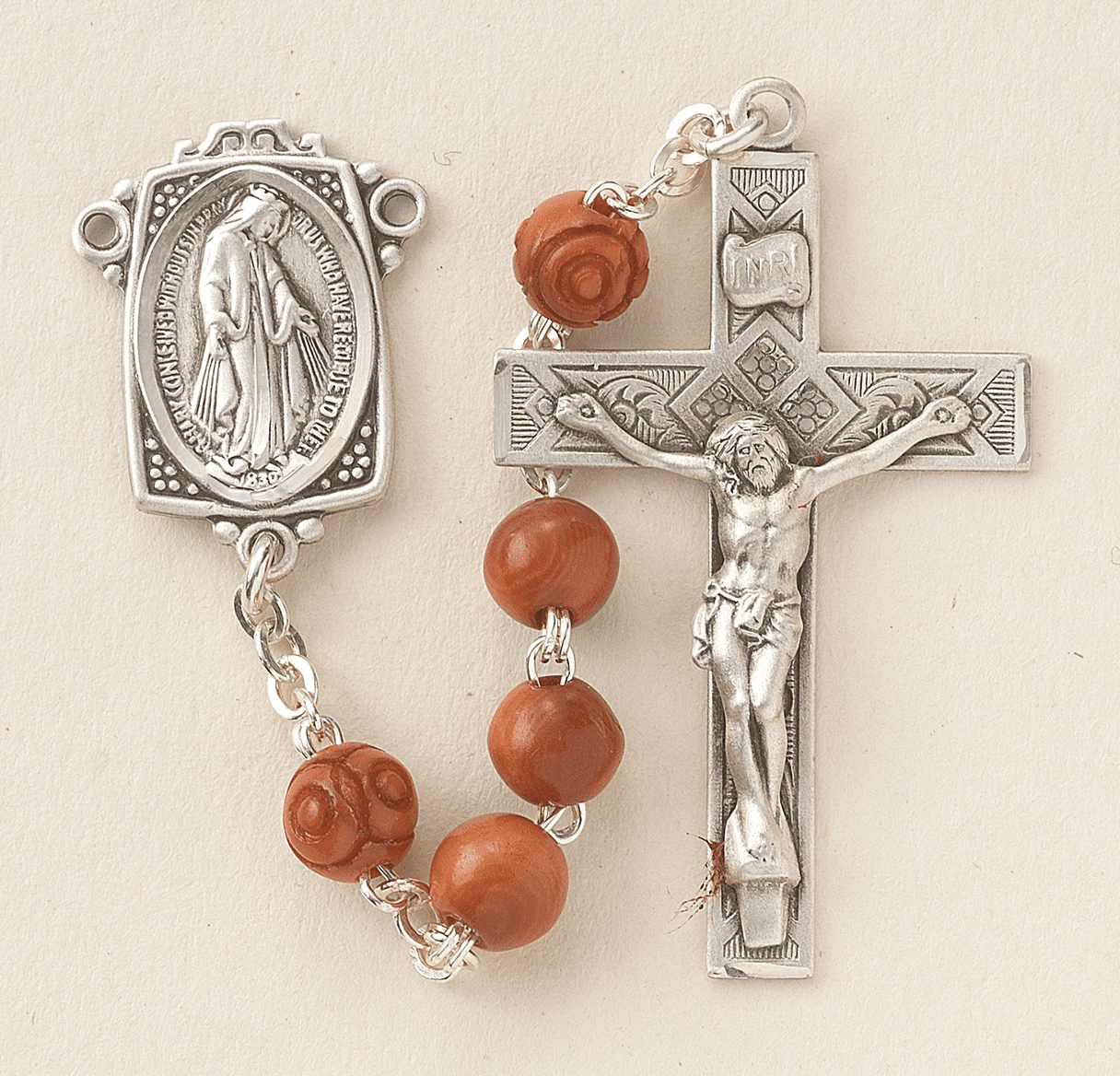 HMH Religious Brown Coco Beads Beads Sterling Scapular Rosary