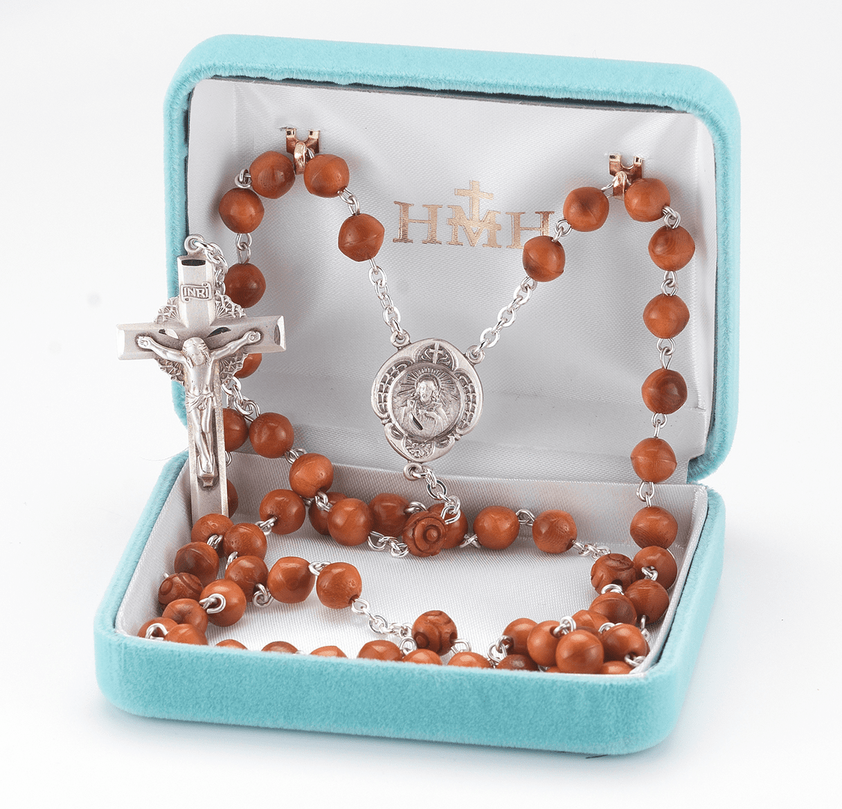 HMH Religious Brown Coco Beads w/Carved Our Father Sterling Scapular Rosary