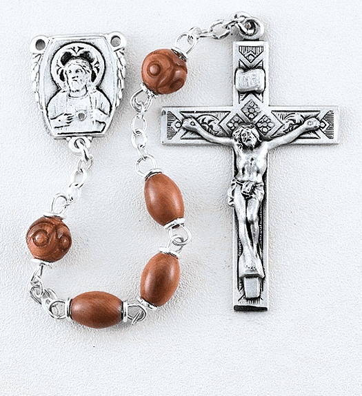 HMH Religious Brown Coco Beads with Carved Our Father Beads Sterling Scapular Rosary