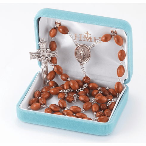 HMH Religious Brown Oval Coco Beads with Carved Our Father Sterling Miraculous Rosary