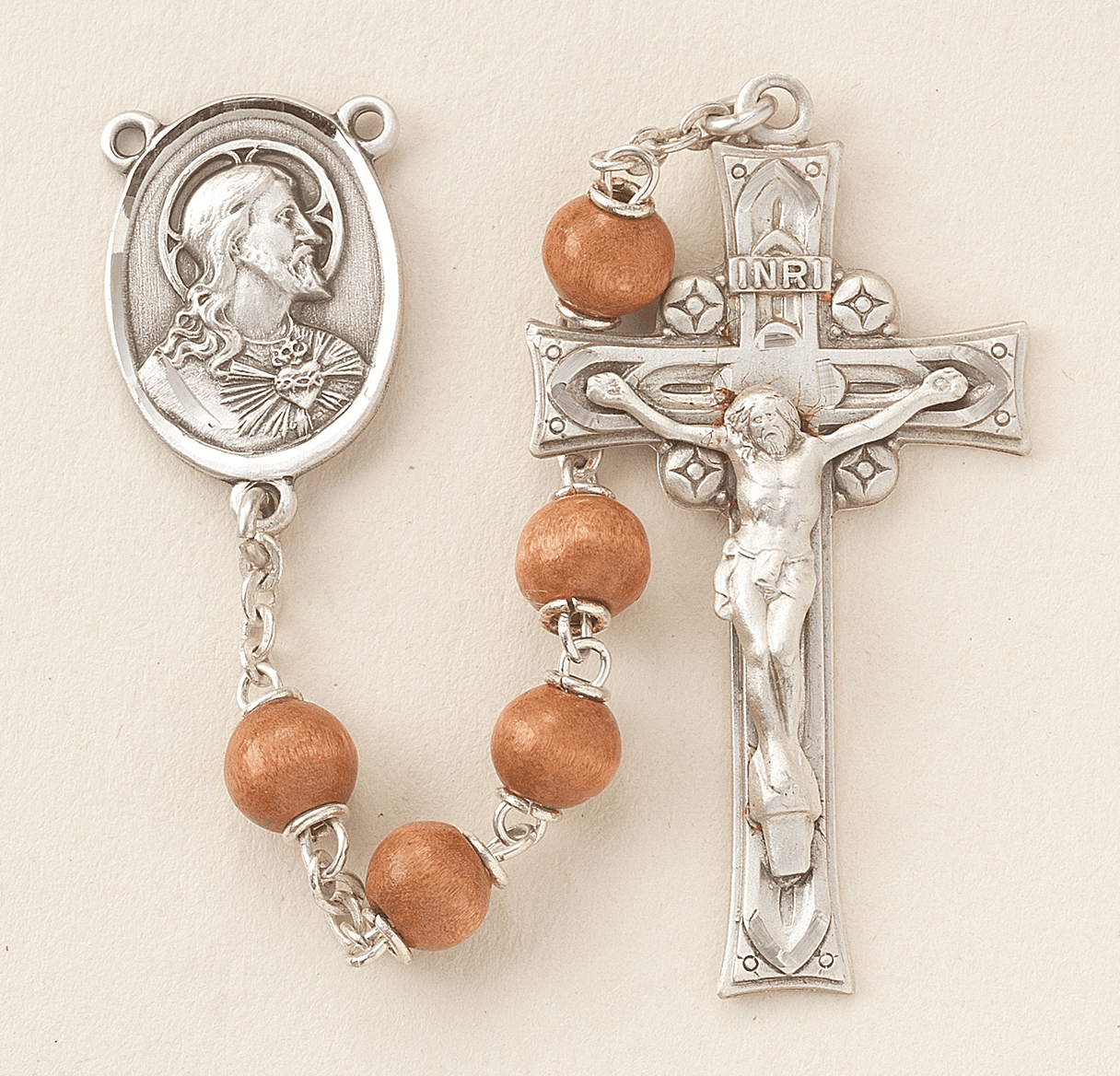 HMH Religious Brown Round Polished Boxwood Beads Sterling Scapular Rosary