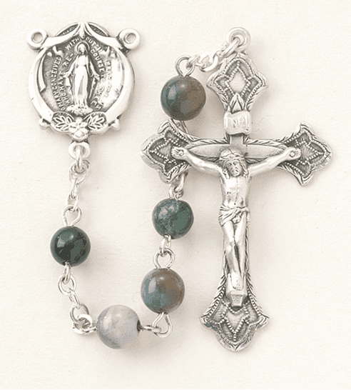 HMH Religious Catholic India Agate Miraculous Medal Sterling Silver Rosary