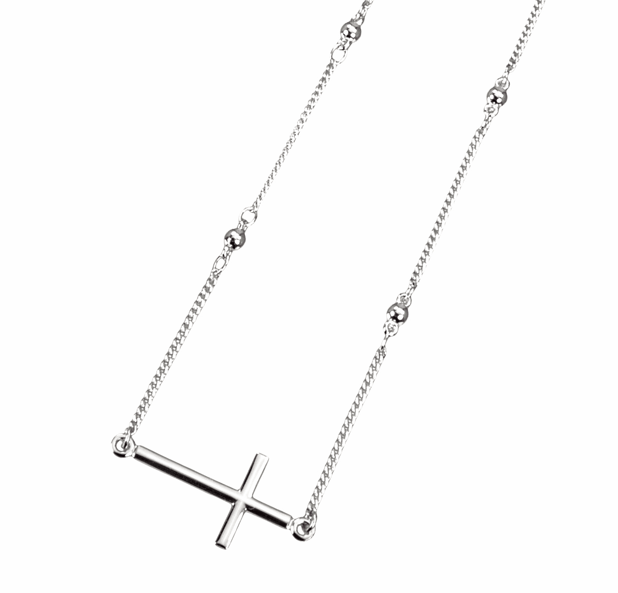 HMH Religious Christian Side Cross Sterling Silver Beaded Pendant Necklace