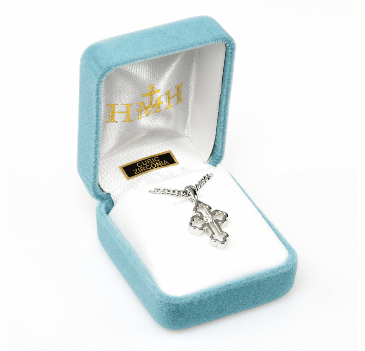 HMH Religious Clover End Sterling  Zircon Crystal Cross Pendant Necklace